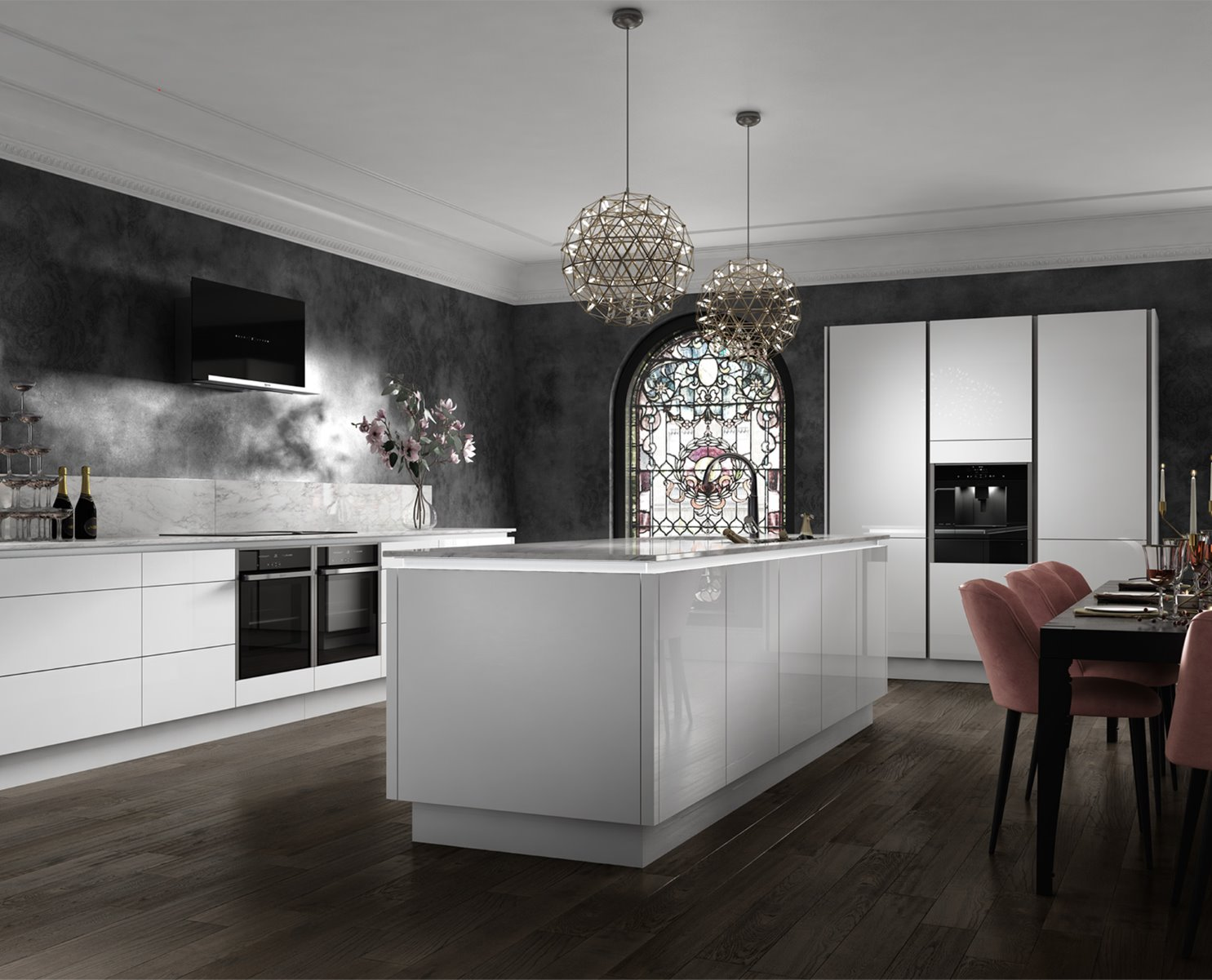 wag glamour white kitchen handless stained glass