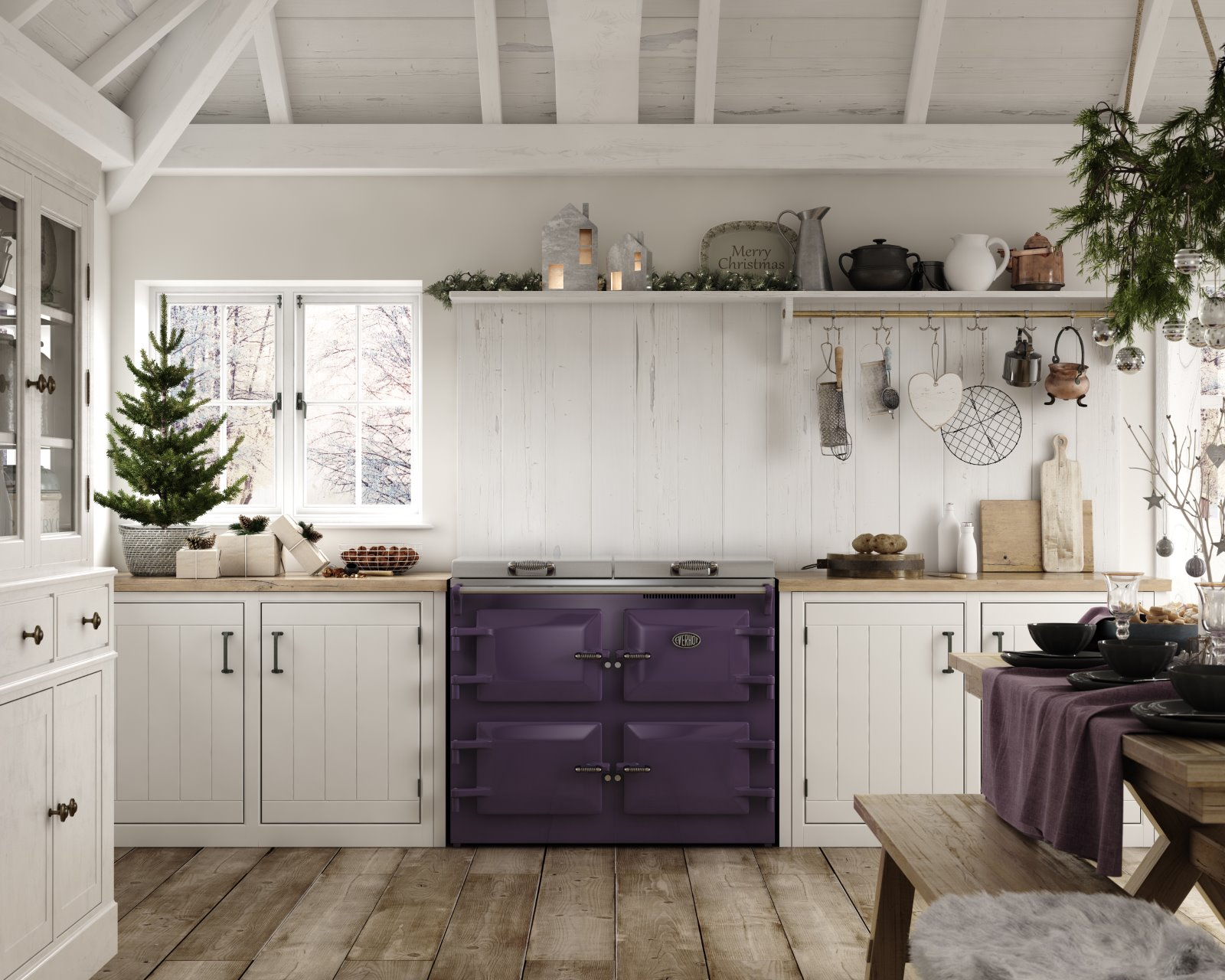 Christmas scandinavian hygge decor kitchen CGI