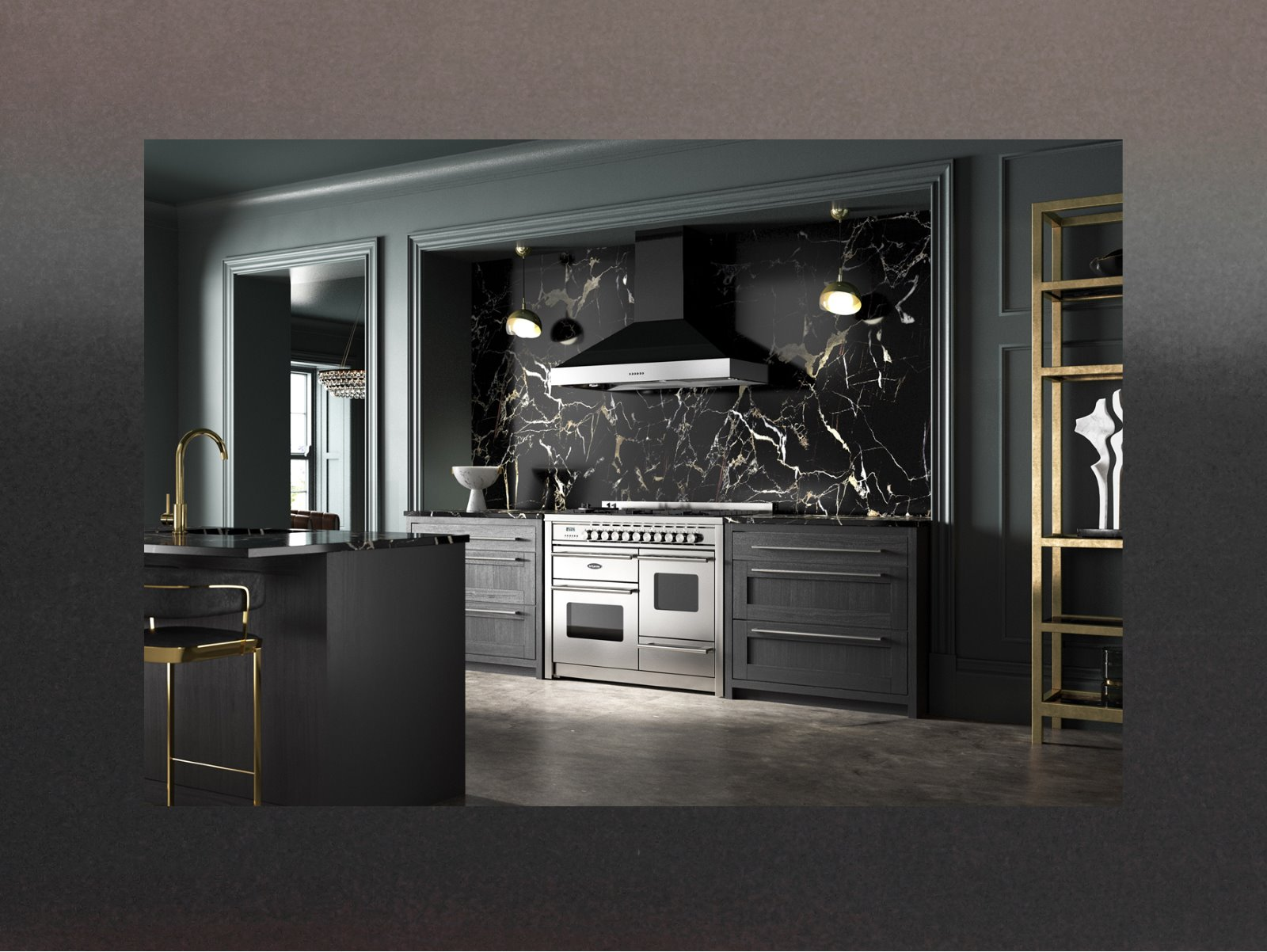 moody kitchen design CGI