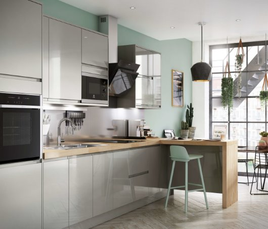 Apartmnet living CGI kitchen grey gloss industrial