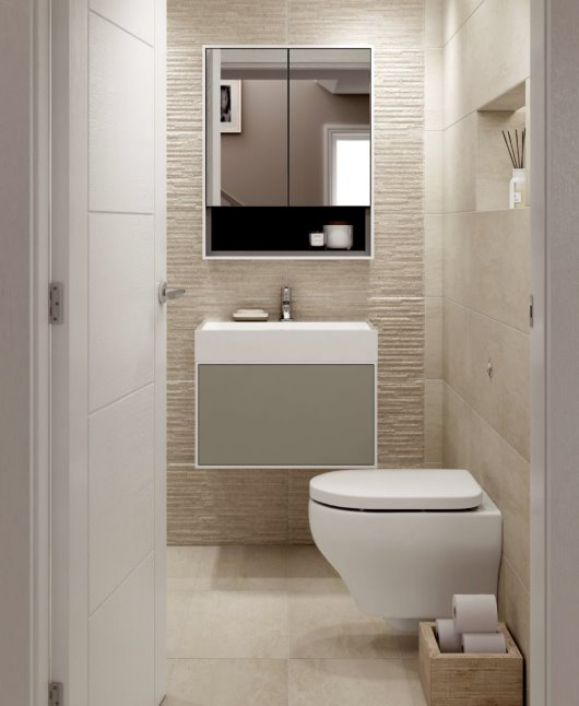 CGI cloakroom compact natural stone