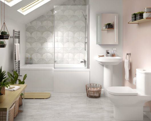 family bathroom soft pink geometric tiles millennial