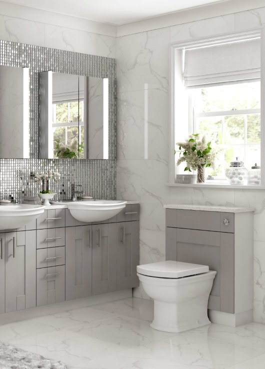 bathroom fitted furniture soft grey marble indulent