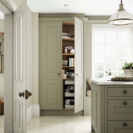 devol style fitted pantry CGI sage green