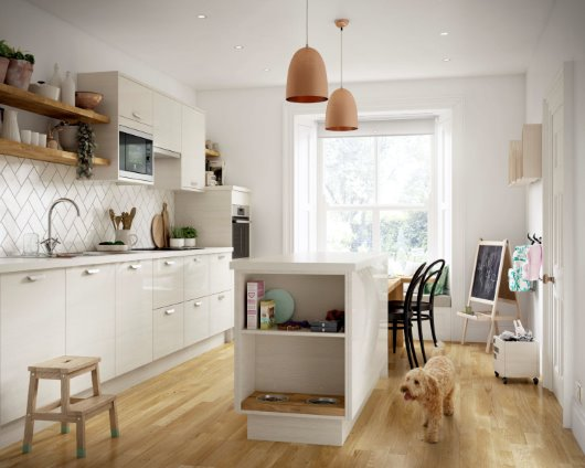 pet feeding station family kitchen CGI white gloss