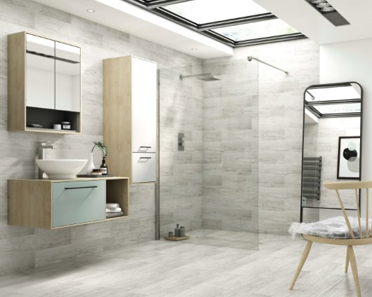 Scandinavian oak furniture wet room