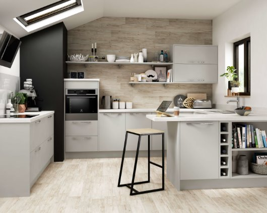 soft grey CGI apartment kitchen wood clad wall tiles modern