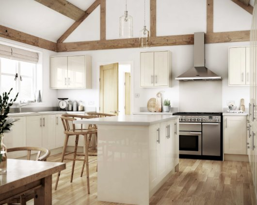 Converted barn modern kitchen CGI