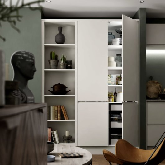 CG open storage unit modern grey kitchen living room