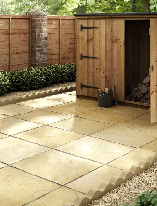 CGI paving garden design wood shed