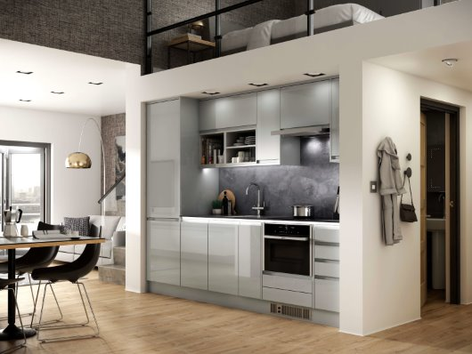 open plan loft apartment CGI visualisation