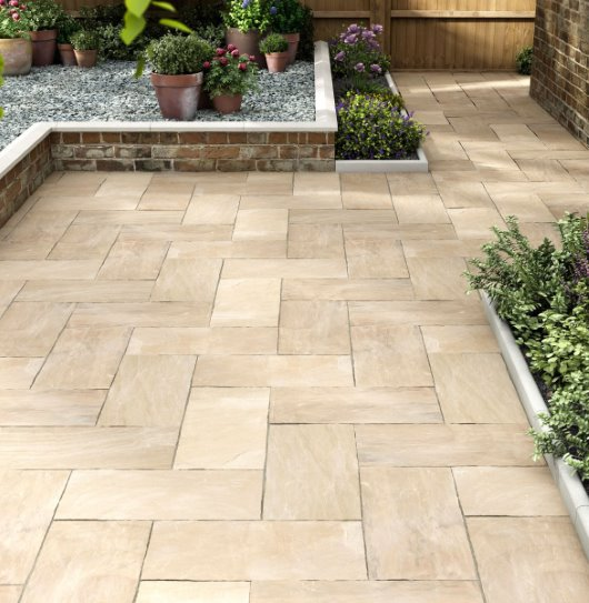 paving garden design dwarf wall CG