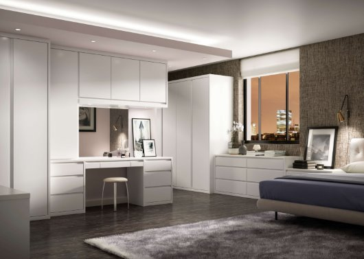 contemporary white gloss city bedroom CGI