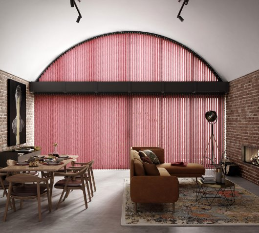 Easicare Unilux Vertical pink blind over arch window CGI