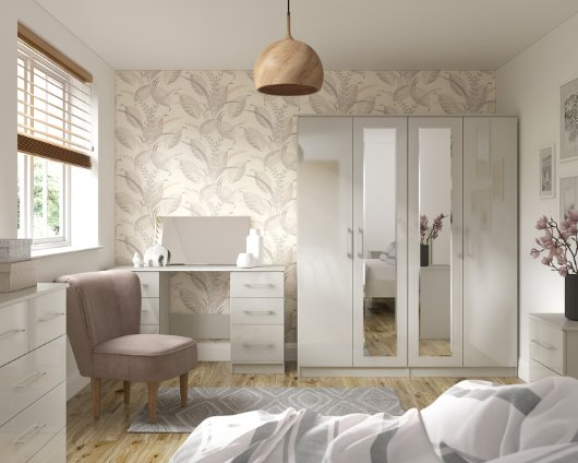 White gloss bedroom collection cgi