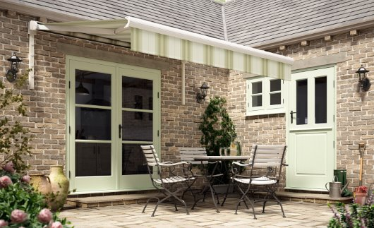 Rome green soft green striped awning cgi