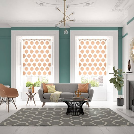 Retro Leaf roller blinds in living room styling cgi