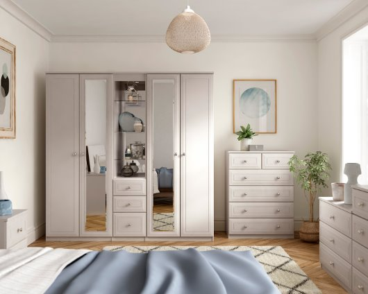 Ravello collection bedroom range in classic pure white cgi