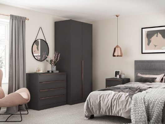 Modular Anthracite bedroom furniture with copper handles cgi