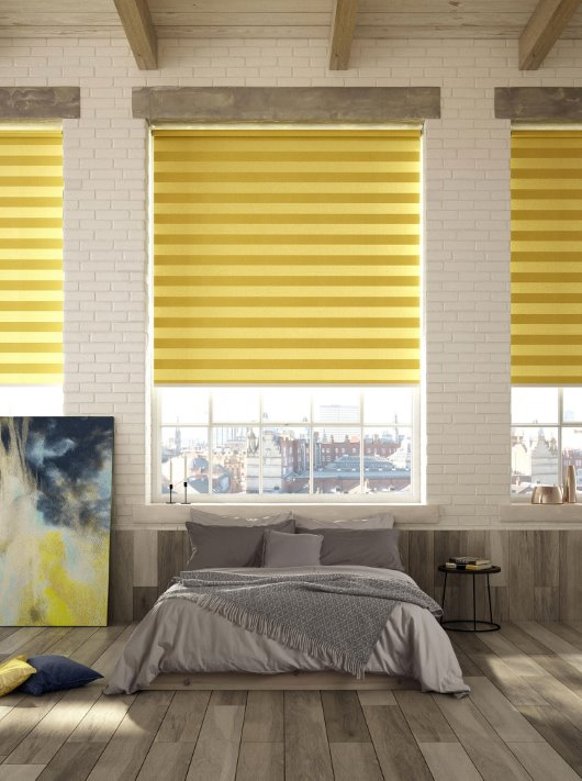 Midas Stripe blinds in mustard cgi