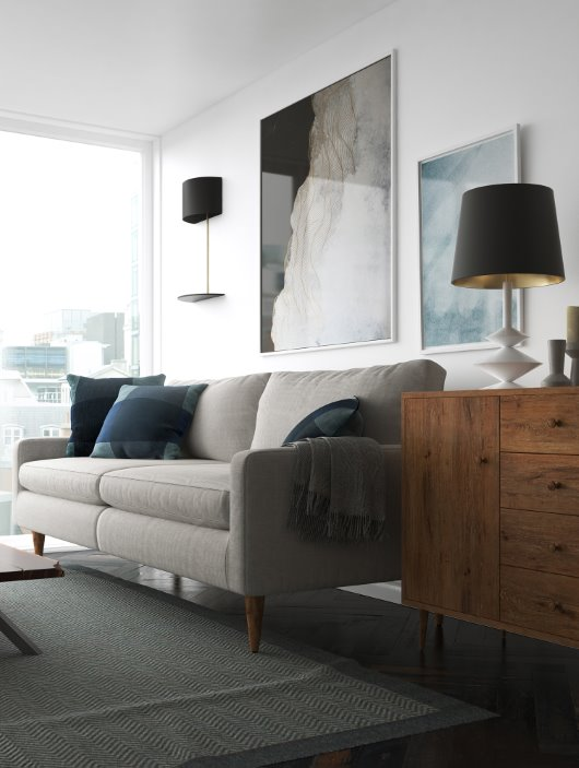 Living room lifestyle look and feel cgi