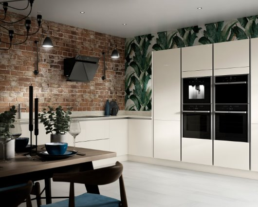 Intelliga Glencoe gloss slab range kitchen in cream cgi