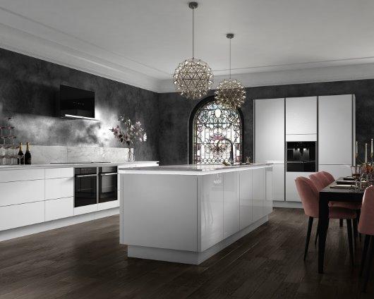 Intelliga Esker gloss slab range kichen in ice white cgi