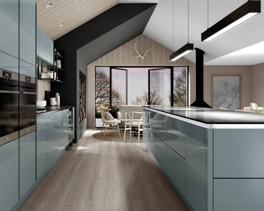 Intelliga Esker gloss slab range kitchen in azure cgi