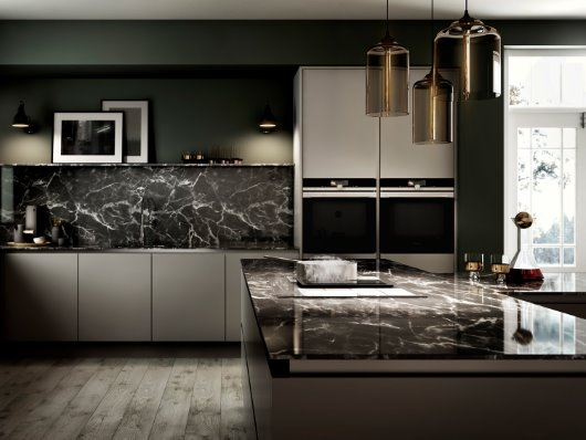 EX875LX34E induction oven on marble Island Worktop cgi