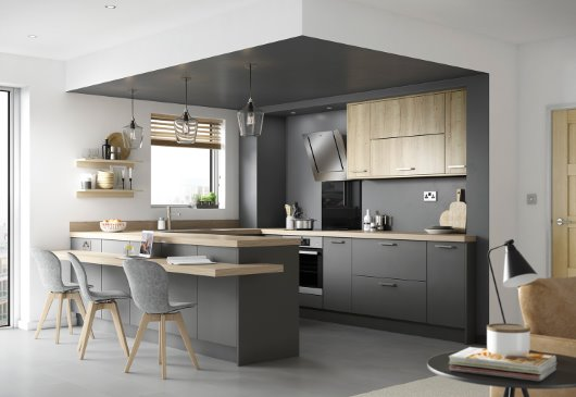 Eton Matt Carbon kitchen with natural timber effect accessories cgi