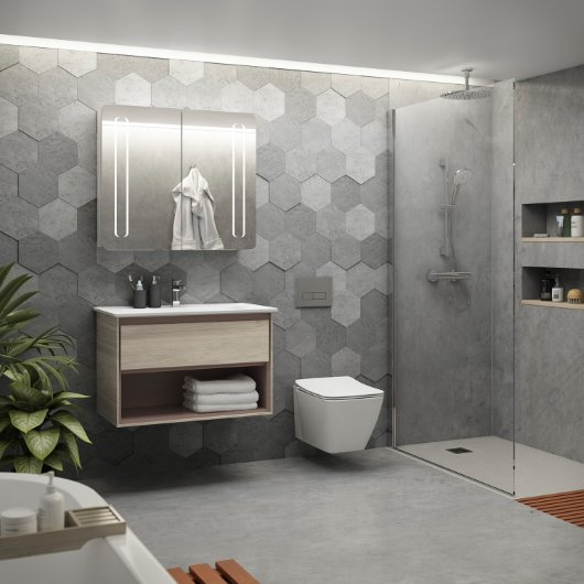Concept air wall hung vanity unit in light grey wood cgi