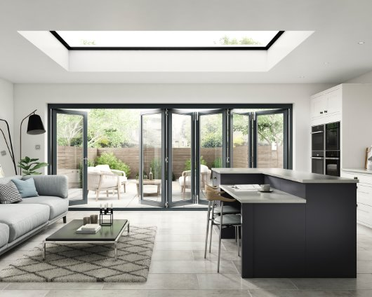 Aspect anthracite grey 3000mm bi folding doors front view