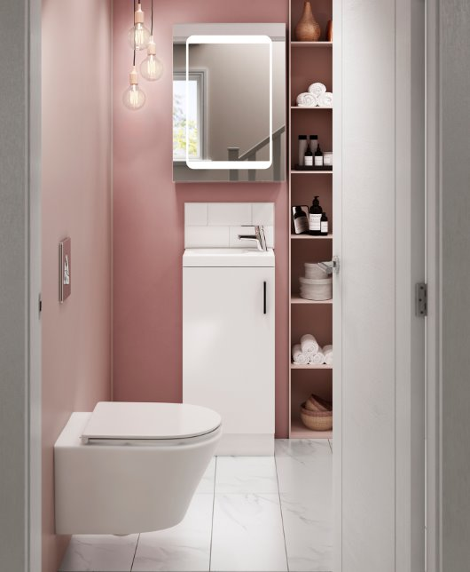 Aliano Cloakroom base unit and doors in bathroom roomset cgi