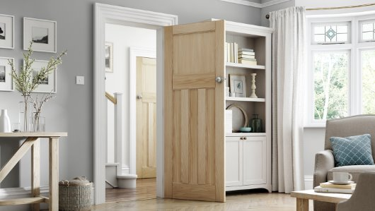 3 Panel oak interior door with unique panel design cgi