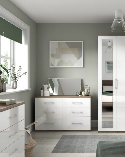 White gloss bedroom furniture render