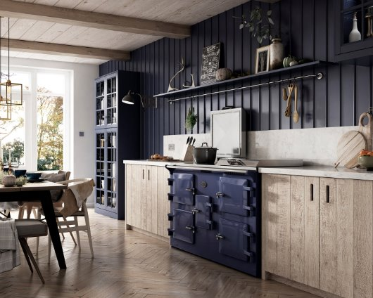 blue range cooker CGI kitchen
