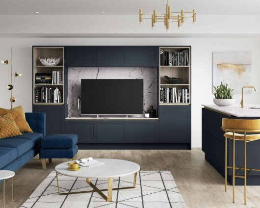 midnight blue open plan bespoke kitchen design CGI