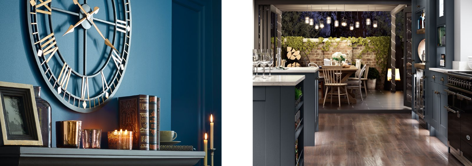 deep blue living room shaker kitchen cosy