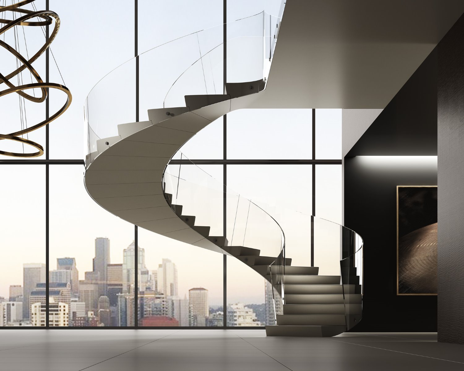 double height penthouse staircase city CGI architecture
