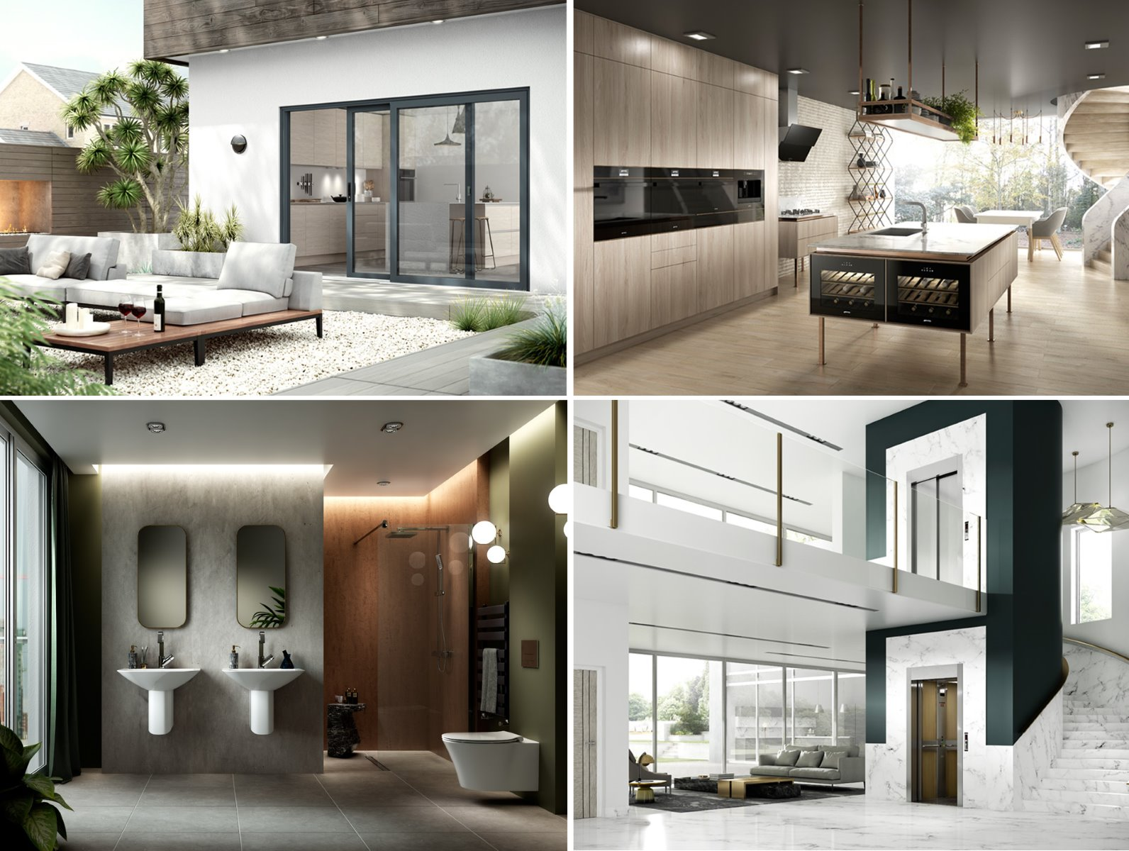 CGI architecture exterior interior domestic bathroom kitchen contemporary