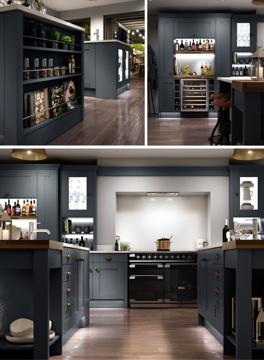 bespoke layout family social kitchen CGI