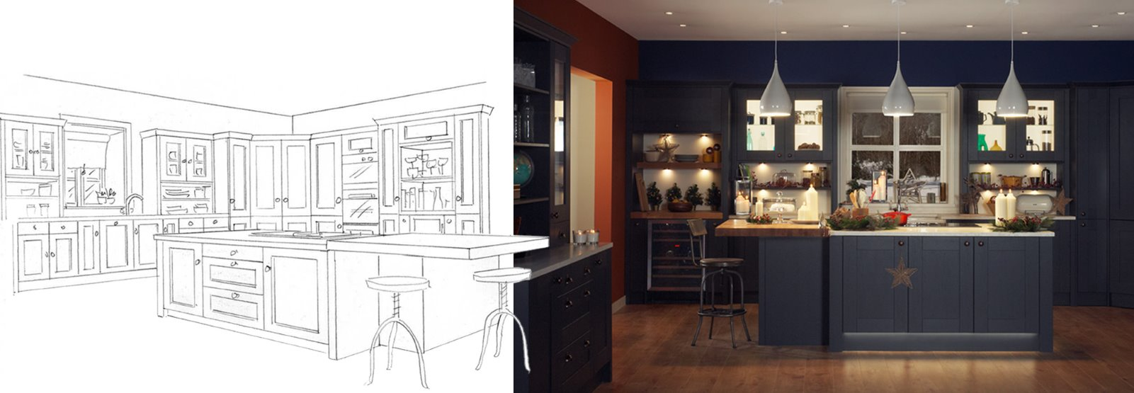 studio set design sketch kitchen