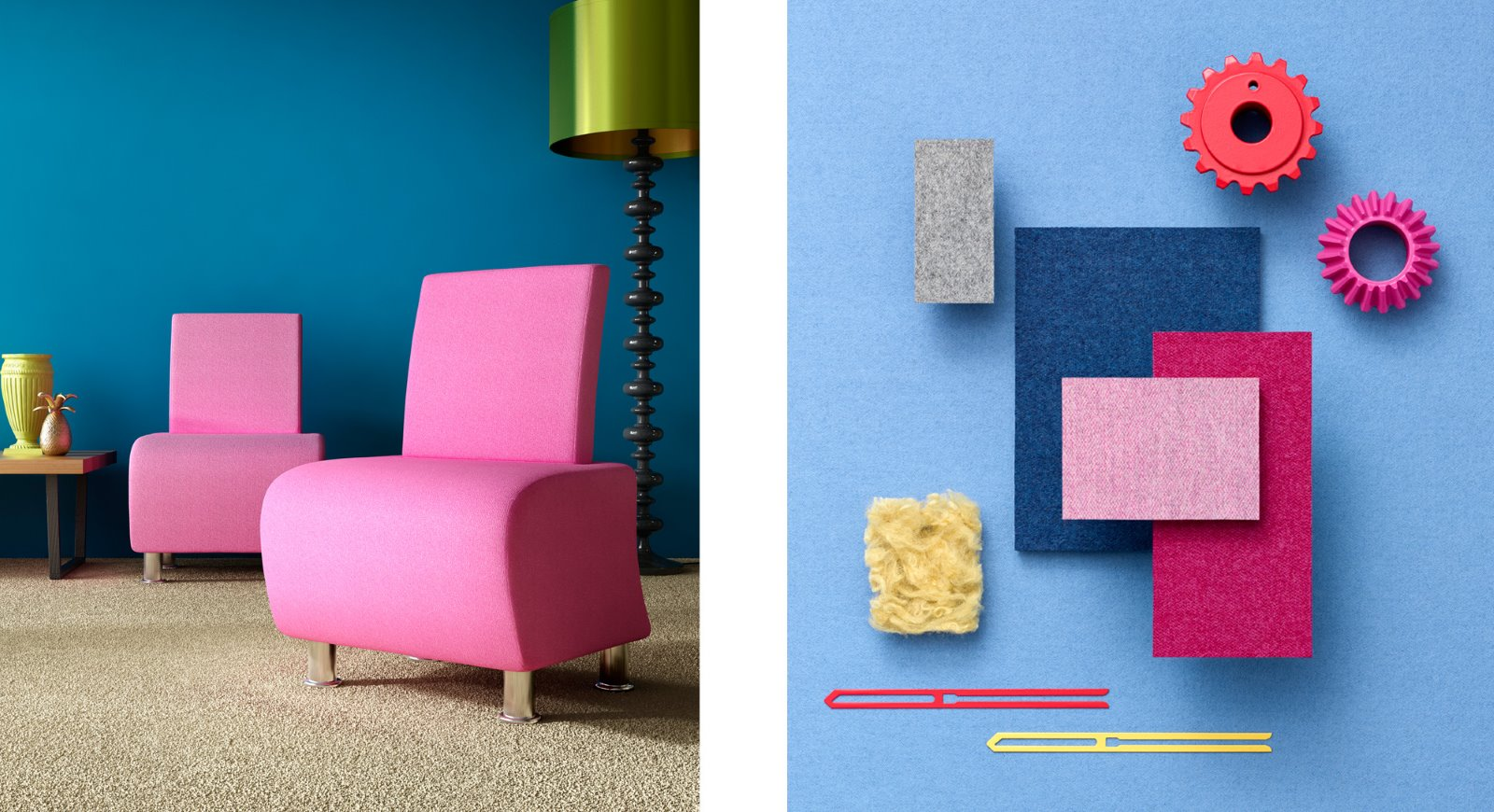 contrasting colours block shape interior design