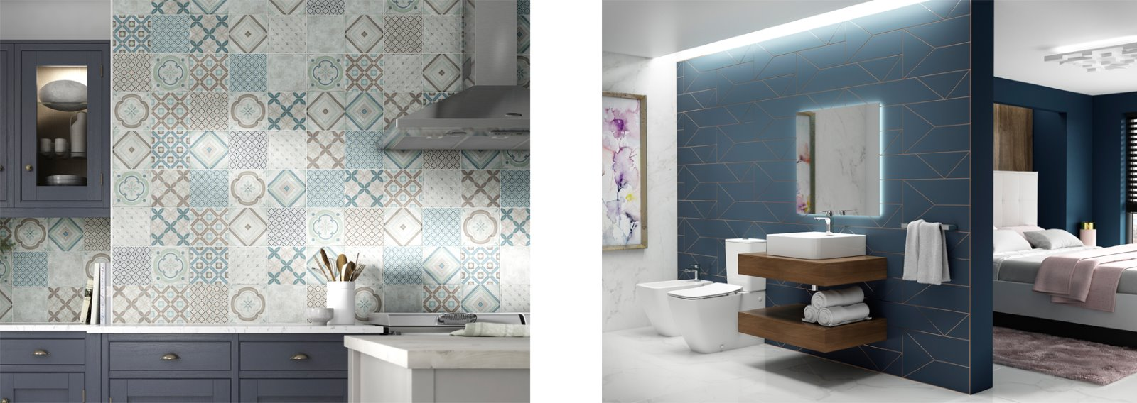 Patterned tiles feature wall